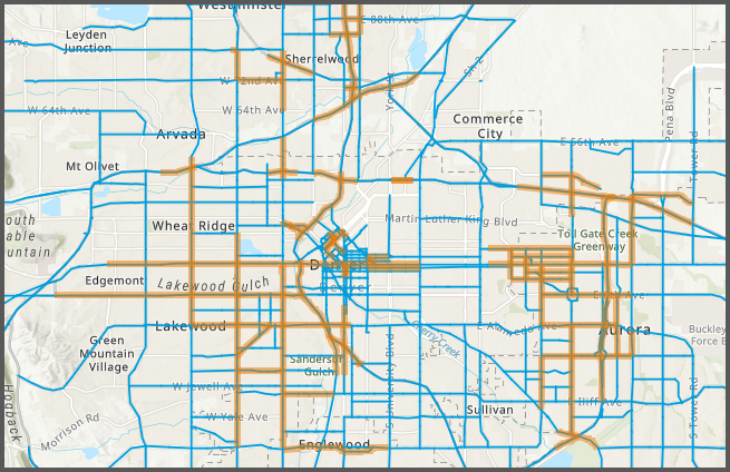 Map identifying roadways with most crash-related injuries and deaths
