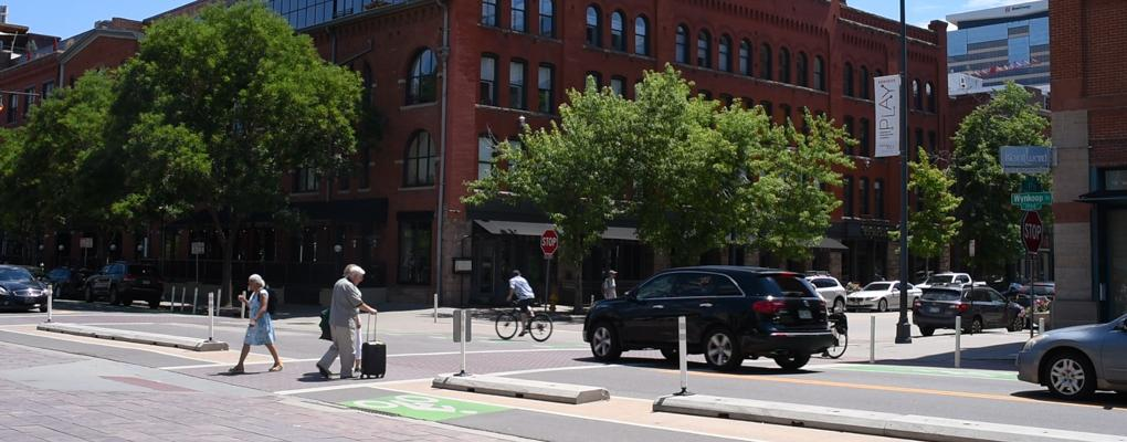 Downtown Denver street crossing
