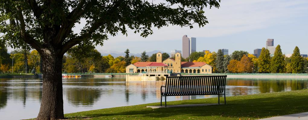 Bench overlooking lake at City Park, Denver